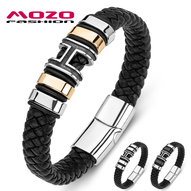 Men Bracelets Braided Hip Hop Stainless Steel Trendy Letter H Punk Genuine Leather Bangle Male Jewelry