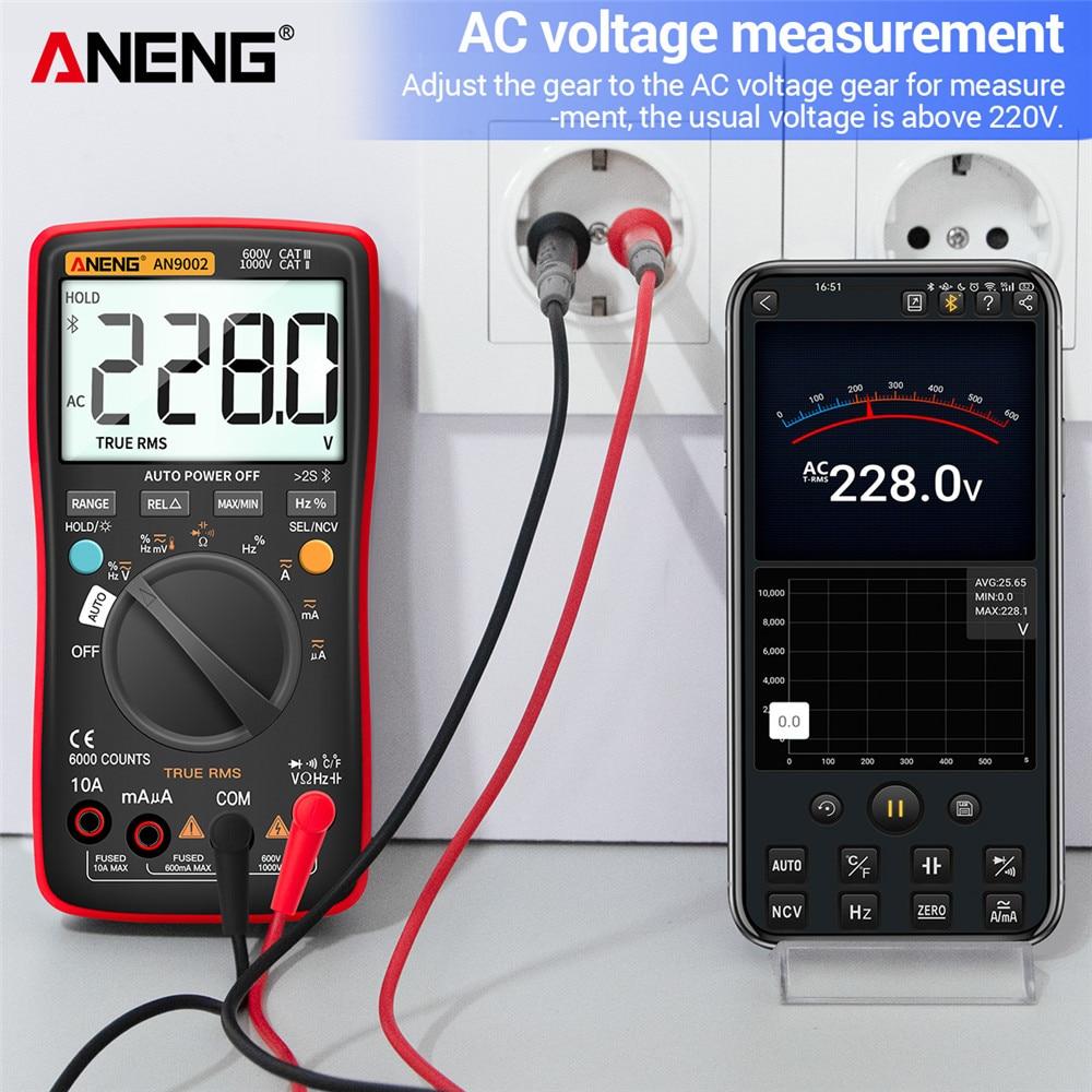 AC DC Voltage Counts Digital Multimeter 6000 Bluetooth MultimetroTrue RMS Current Professional Range Auto Tester AN9002 ANENG