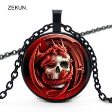 цена на LIAOZEKUN.2019/new Red Hell Dragon Skull Glass Pendant Necklace Men and Women Necklace Jewelry