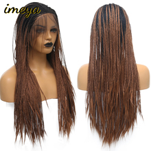Imeya два тона длинные Плетеные Коробки косички волос синтетический парик фронта шнурка Омбре ручной работы Плетеный парик с детскими волосами для женщин