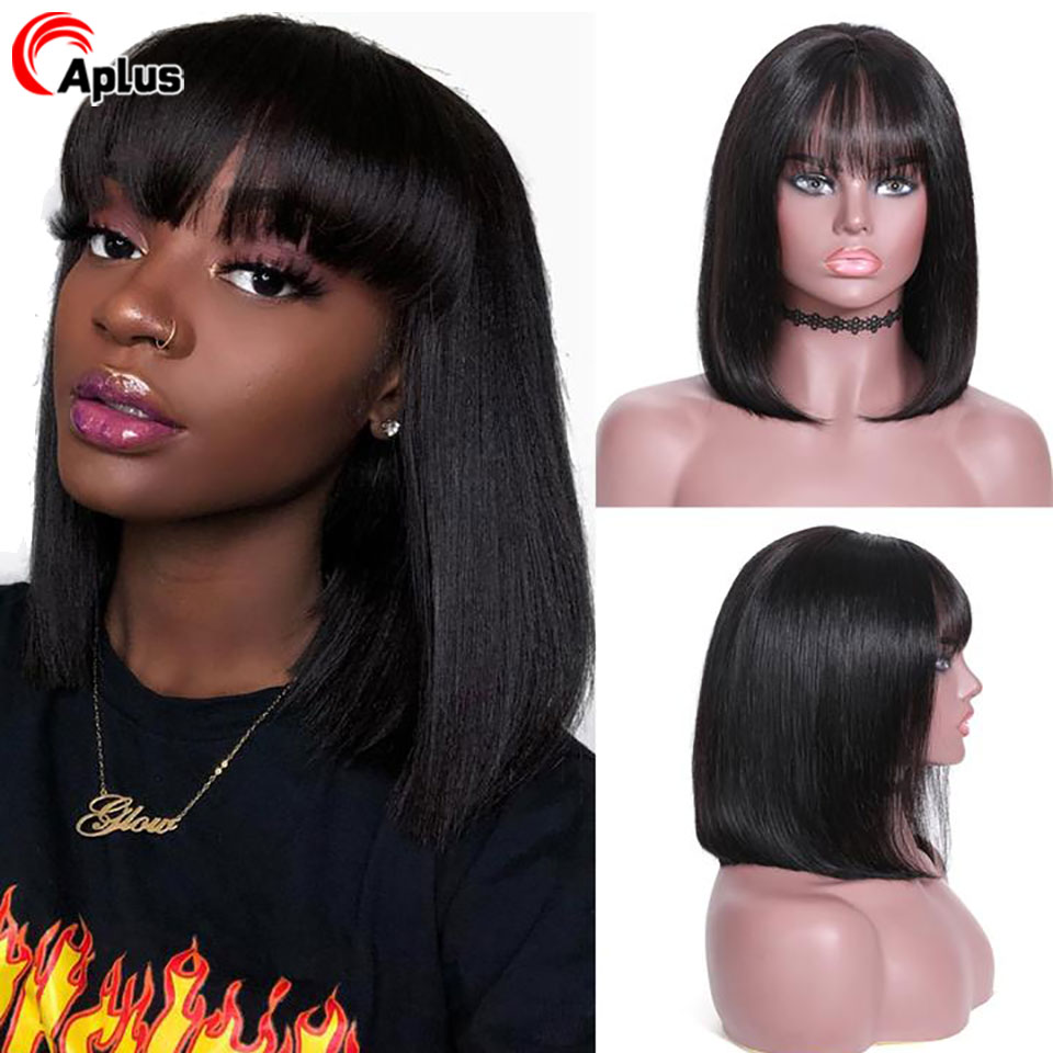 Straight Short Bob Bang Wig Human Hair 13x4 Transparent Lace Front Wig With Bangs Brazilian Remy Hair 150% Density For Women