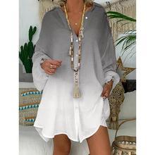 Женская верхняя блузка большого размера Осенняя Повседневная градиентная рубашка с длинными рукавами нерегулярные блузки на пуговицах Свободные топы женские bluusen damen BB4