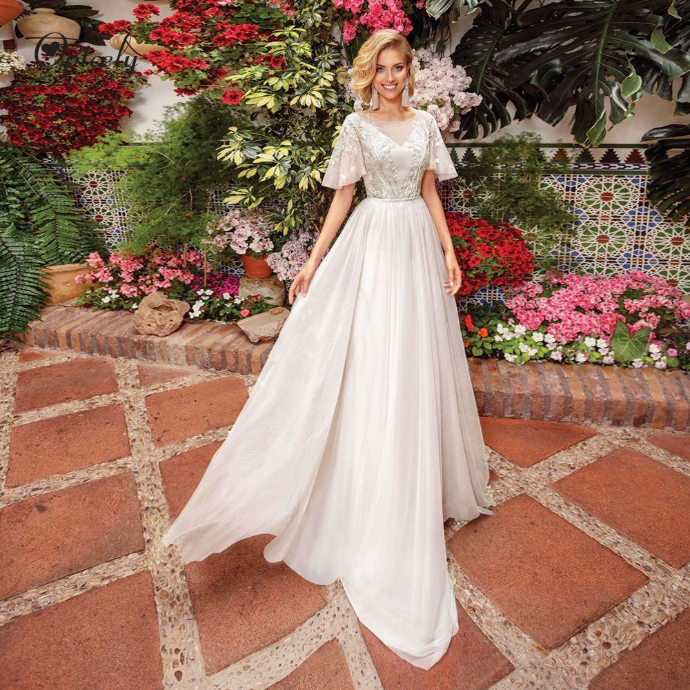 Optcely Real Photo Vintage Flare Sleeve Elegant Scoop Neck A-line Wedding Dress Appliques Beaded Bride Gown Customize Size Plus