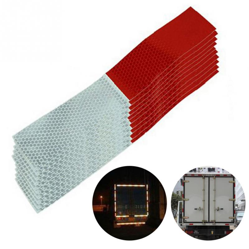 10PCS Universal Car Reflective Stickers Warning Strip Reflective Truck Auto Supplies Night Driving Safety Secure Red White Stick