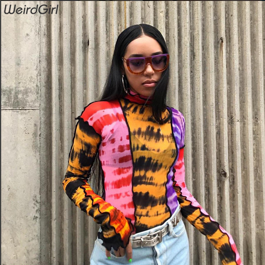 Weirdgirl Women T shirt Femme full Sleeve turtleneck Girl Casual Tops Elastic Basic T shirts Highstreet Lady Print Pullovers Tee in T Shirts from Women 39 s Clothing