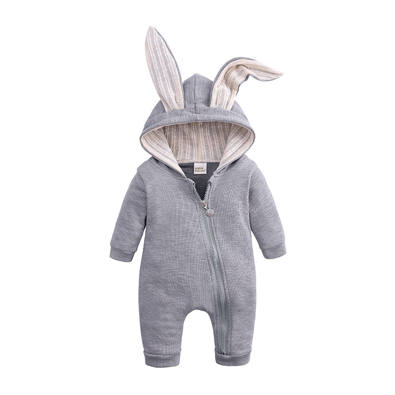 Cartoon Bunny Baby Hoodie Outfits   Rompers   Cotton Zipper Baby   Rompers   Spring Autumn Newborn One-Pieces Infant Costume 3-24 Months