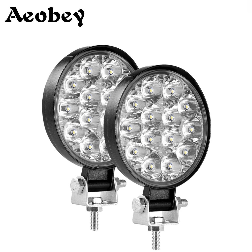 2pcs 42W 14 LED Work Light Offroad Car 4WD Truck Tractor Boat Trailer 4x4 ATV SUV 12 24V Spot Flood LED Driving Light