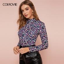 COLROVIE Mock-Neck Ditsy Floral Print Fitted Top Women Slim Fit Elegant Tees 2020 Spring Basics Streetwear Ladies Tops