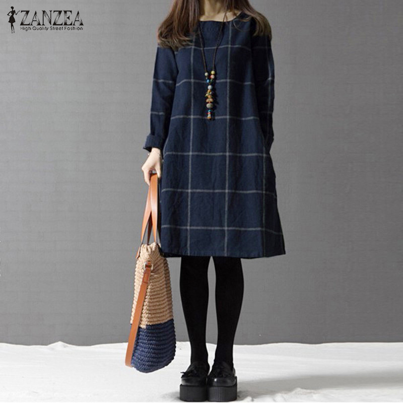ZANZEA Winter Dress Women Long Sleeve Cotton Linen Plus Size Dresses Autumn Knee-length Casual Plaid Shirt Vestidos Robe Mujer