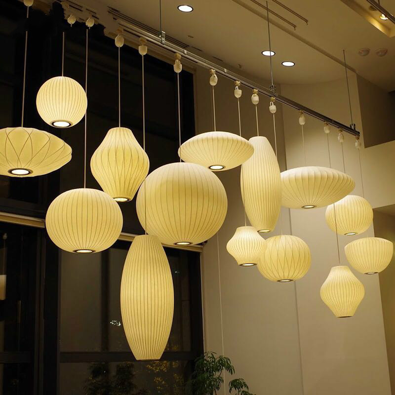 Simple White Lampshade Paper Chandelier Kitchen Island Restaurant Pendant Lamp Creative Loft Industial Japanese Chandelier
