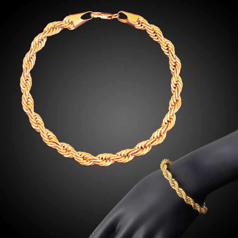 jewelry 18K gold-plated double-color twist chain men and womens general copper bracelet manufacturer direct sales