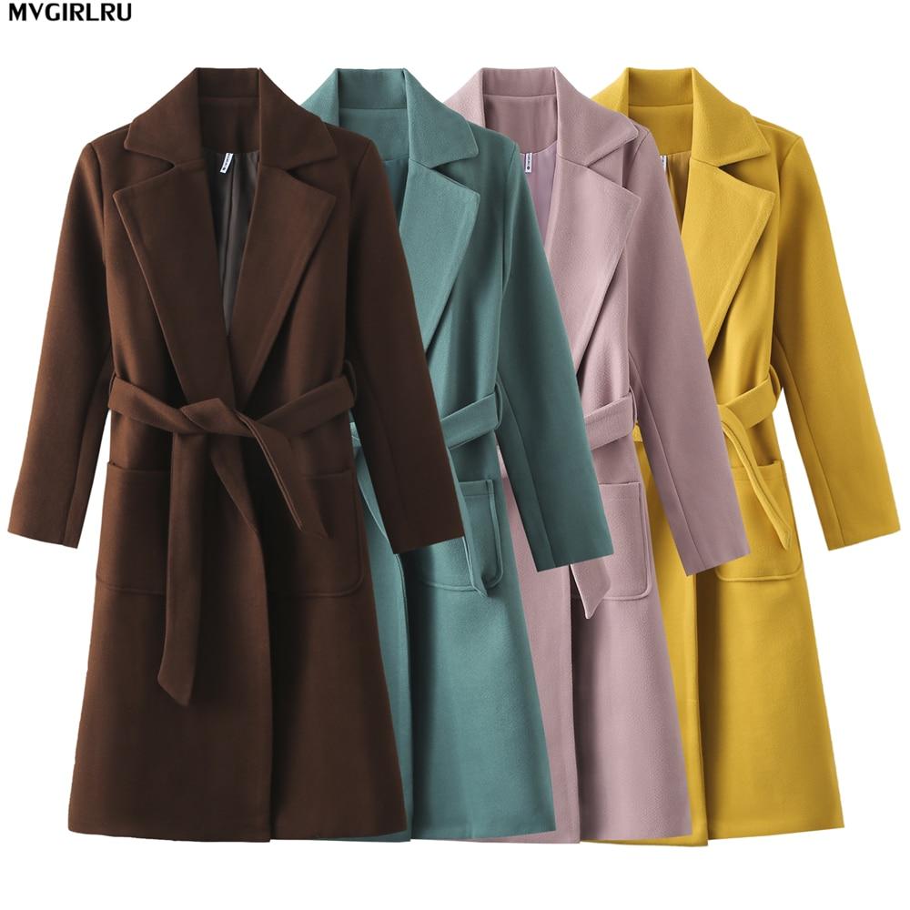 MVGIRLRU Women's coats wool&blends women's parkas pockets belted Jackets Brown Coffee black pink Outerwear|Wool & Blends| - AliExpress
