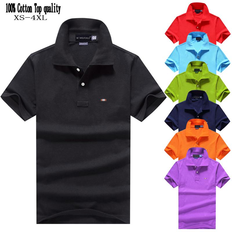 Top quality 2020 Summer Men's short sleeve polos shirts 100% cotton brand solid color mens tops fashion mens clothing XS-4XL