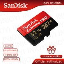 SanDisk Extreme Pro מיקרו SD כרטיס 128GB microSDHC SDXC UHS I זיכרון כרטיס 64GB TF כרטיס 32GB U3 עם SD מתאם עבור nanica smitch