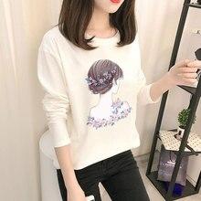 Women Autumn Fashion T-shirts Ladies Casual Long Sleeve Cartoon White Top Shirts