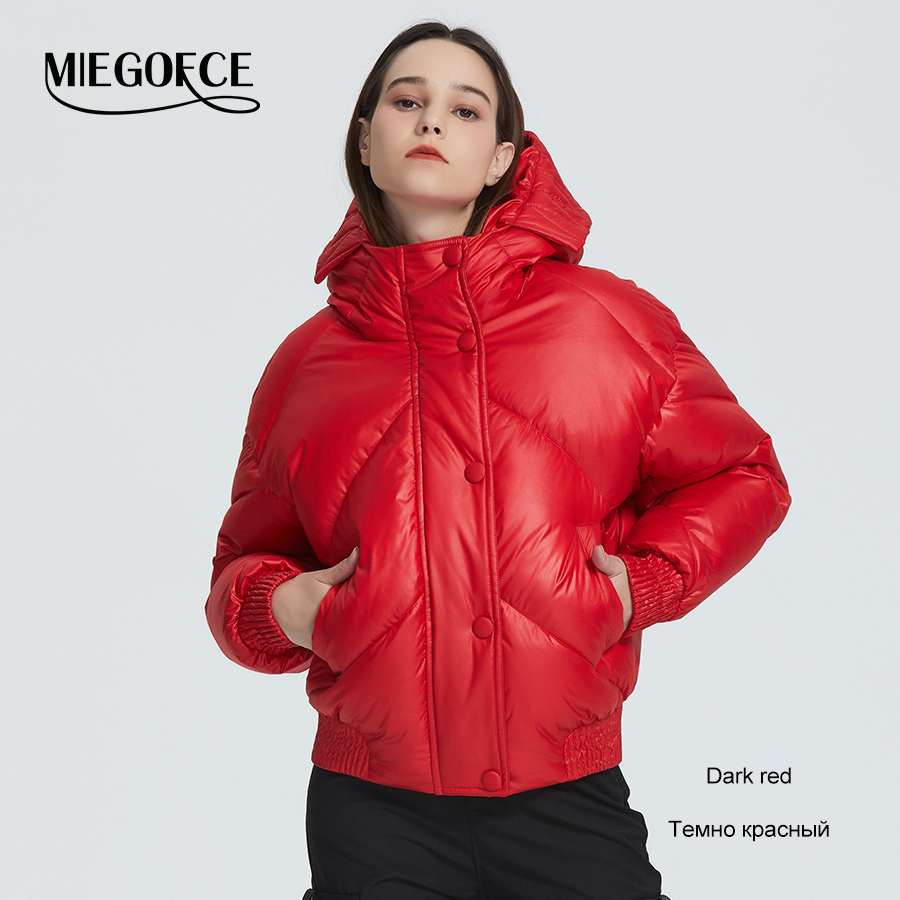 MIEGOFCE 2020 New Design Winter Coat Women's Jacket Insulated Cut Waist Length With Pockets Casual Parka Stand Collar Hooded 7