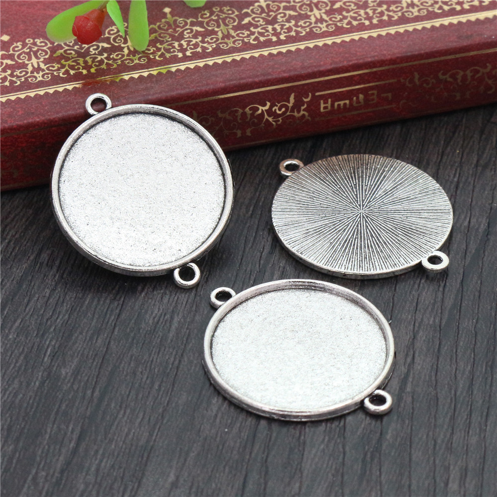 New Fashion 10pcs 25mm Inner Size Antique Silver Classic Simple Style Cabochon Base Setting Charms Pendant (A6-22)