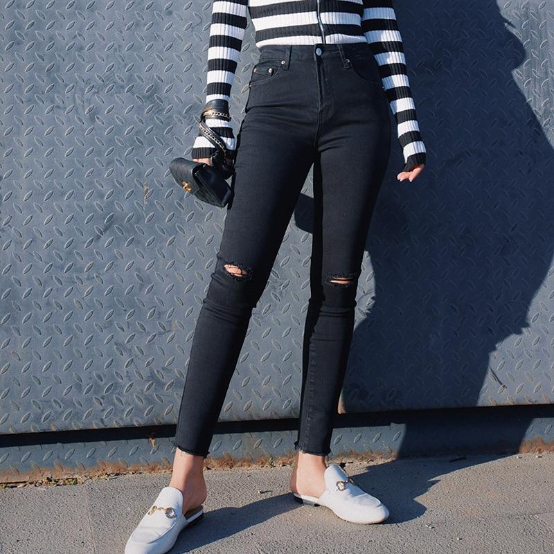 2019 Новая мода Женская одежда рваные джинсы женские черные ноги девять брюки весна и осень Высокая талия стрейч тонкие колготки