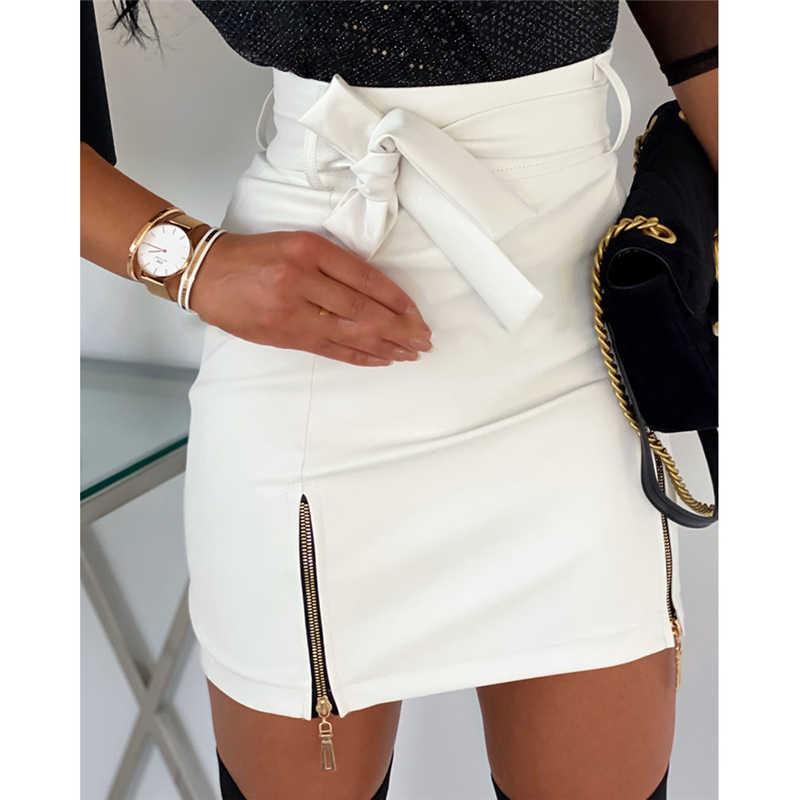 חדש הגעה 2020 אופנה סקסי גבוהה מותן עור מפוצל נשים חצאיות אבנט רוכסן עיפרון מיני חצאית סתיו חורף לבן שחור חצאית