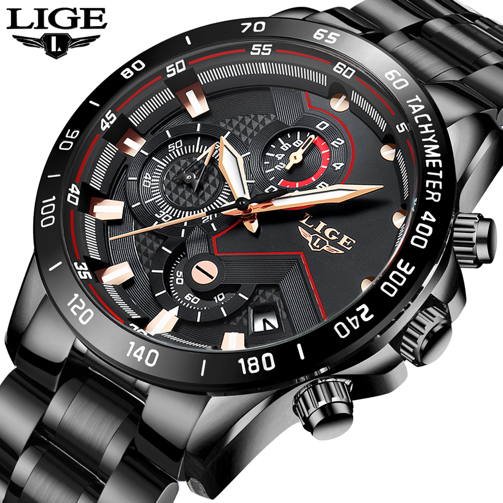 Relogio Masculino LIGE Chronograph Mens Watches Stainless Steel Waterproof Date Quartz Watch Men Business Classic Male Clock+box