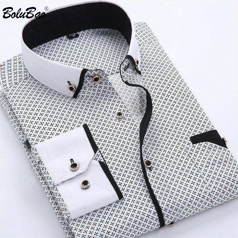 BOLUBAO Casual Brand Men Dress Shirt New Men's Slim Wild Business Shirt Male Print Long Sleeve Shirts Tops