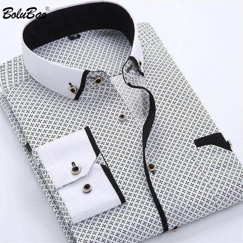 BOLUBAO Casual Brand Men Dress Shirt New Men's Slim Wild Business Shirt Male Print Long Sleeve Shirts Tops