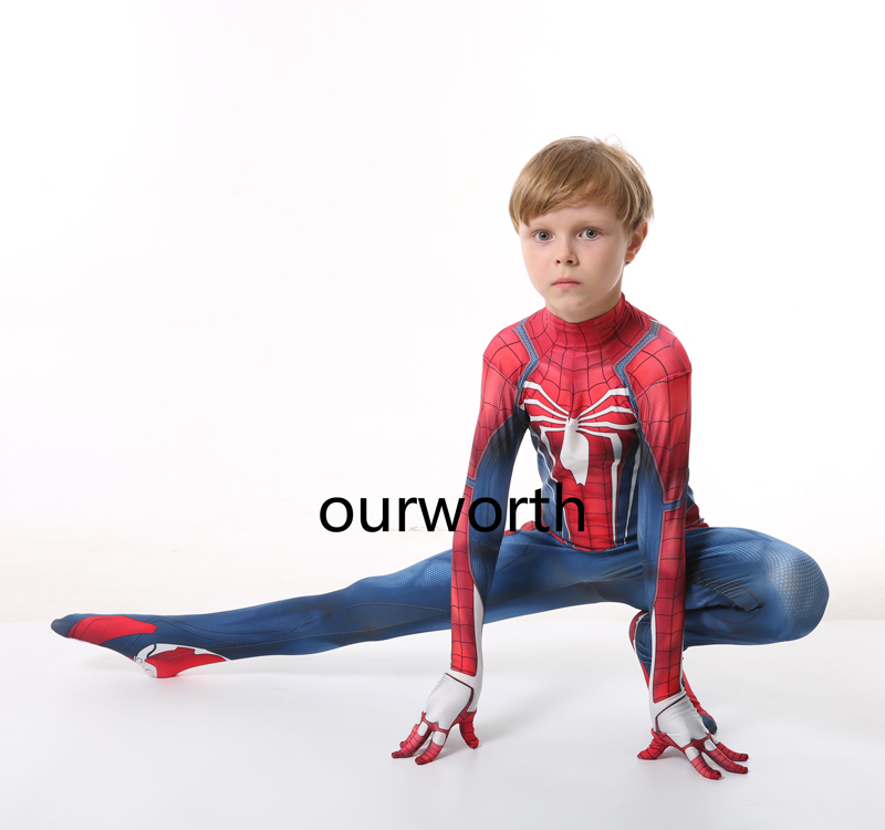 Kids PS4 Game Spiderman Costume Spandex halloween spider-man superhero Cosplay Costume for kids/children In Stock image