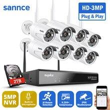 SANNCE 8CH Wireless NVR CCTV System 8pcs 3MP IP Camera WIFI Audio Recording IR Night Vison Home Security Camera Surveillance Kit