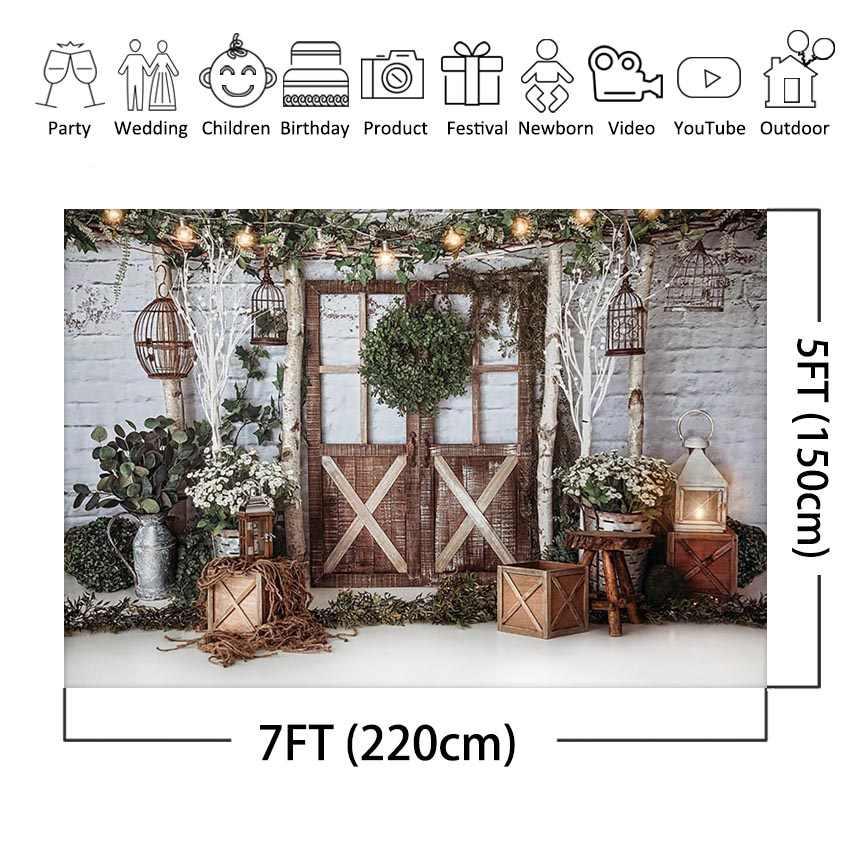 Рождественский фон с белой кирпичной стеной для новорожденных детей фон для фотосъемки с деревянной дверью зеленая гирлянда Фотостудия