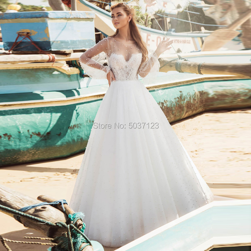 Pearl A Line Tulle Wedding Dresses Long Sleeves O Neck Lace Appliques Open Back Sweep Train Bridal Gown Vestidos De Noiva