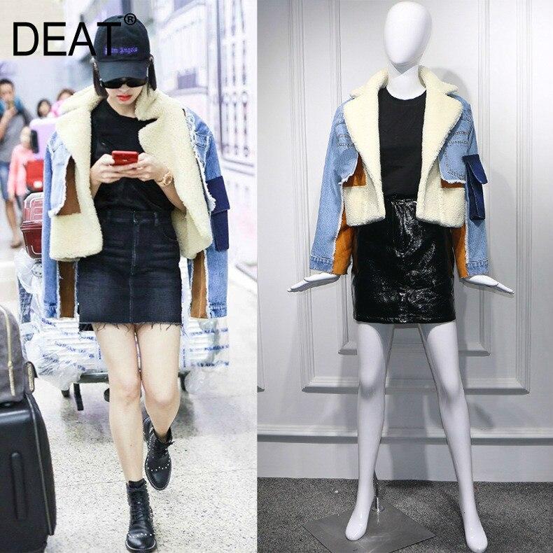 DEAT 2019, зимняя одежда из овечьего меха с отложным воротником и длинными рукавами, джинсовая синяя Лоскутная одежда, пальто Тренч с буквенным