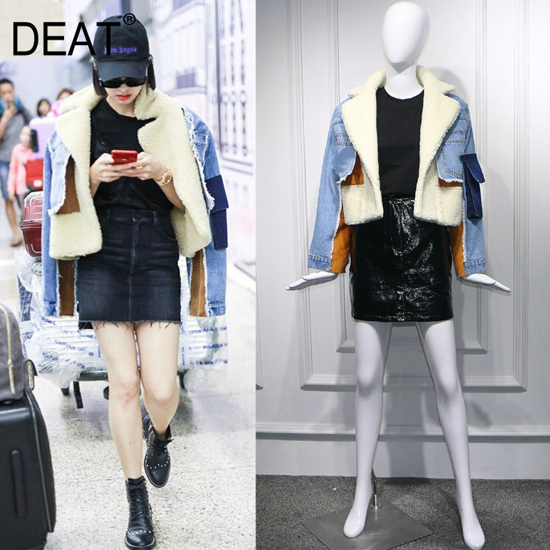 DEAT 2019 Winter Sheep Fur Turn-down Collar Full Sleeves Denim Blue Patchwork Spliced Clothes Letters Printed Coat Trench WJ1020