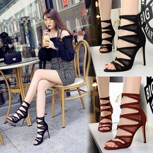 high heels fine heels super high heels mesh hollow out sexy thin night club women's cool boots women's shoes sandals mature temptation mysterious sexy fashion ultra high documentary shoes black roman style hollow out super high heels