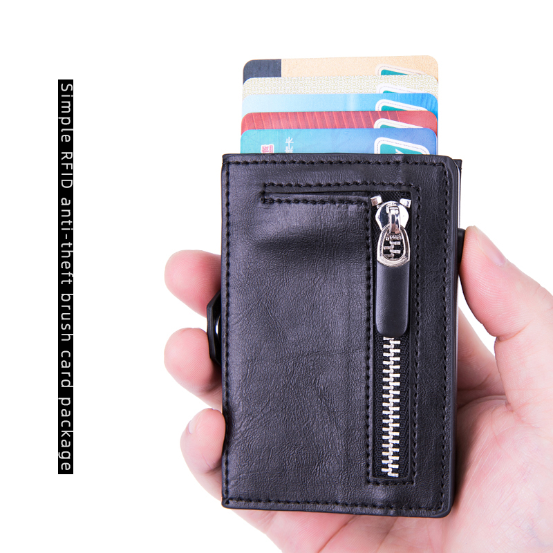 BISI GORO Button RFID Credit Card Holder Hasp Single Box Smart Wallet Men Automatic Card Case Coin Purse 2020 Women Holder