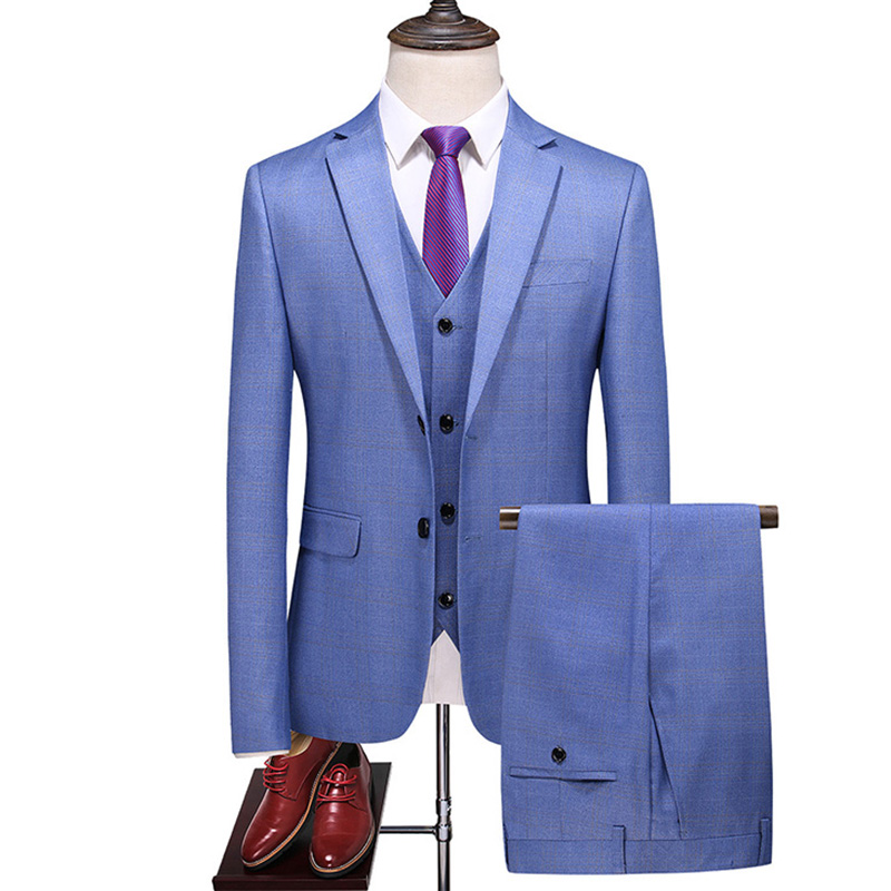(Blazer + Pants + Vest) British Style Men's Suit Set Fashion Plaid Slim Banquet High-end Large Size 6XL Blue Suit 3-piece Set