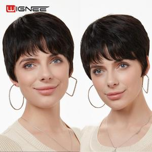 Image 2 - Wignee Short Straight Hair Human Wigs Free Bangs for Black Women Remy Brazilian Natural Soft Hair Pixie Cut Cheap Human Hair Wig