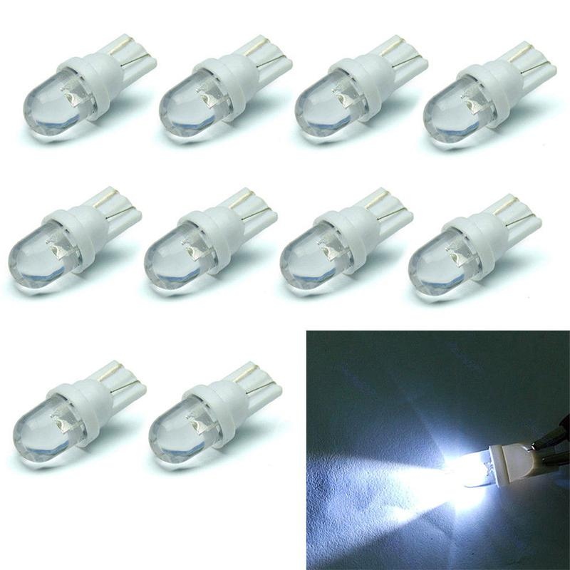 10Pcs/Set T10 White 12V LED 194 168 158 5W 6500K Side Car Auto Wedge Dashboard Light Straw Hat Width Lamp Reading Light