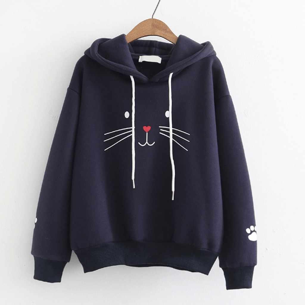 المرأة هوديس البلوز موضة الشارع الشهير لطيف القط بلوزة يمكن الطباعة عليها طويلة الأكمام هوديس Harajuku رداء فضفاض غير رسمي