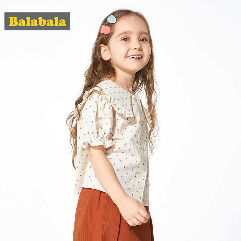 Balabala Ragazze manica corta camicia di modo dei bambini della camicia 2020 di estate nuovo bambino dot carino piccola principessa