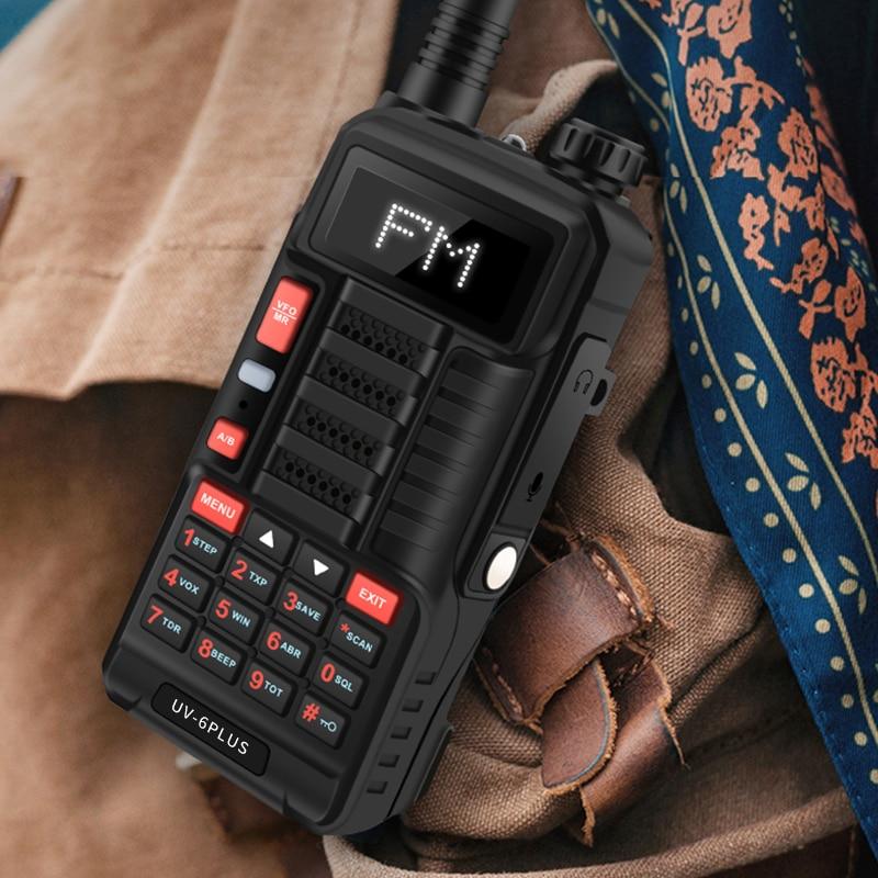 Baofeng UV-6 PLUS Black Walkie Talkie With 128ch 7W Powerful Dual Band Ham Radio Hf Transceiver  Uv-5r  Cb Radio