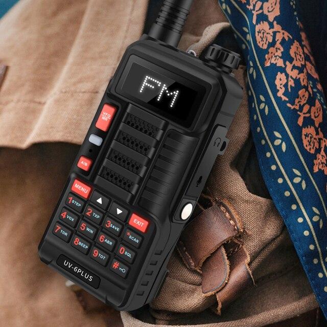 Baofeng UV 6 PLUSยาวWalkie Talkieชาร์จ7W Dual Band HamวิทยุUv 5rวิทยุCbสำหรับการล่าสัตว์