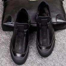 Winter Bont Lederen Sneakers Heren Luxe Schoenen Mannen Designer Zwarte Schoen 2018 Mannen Mode Schoen Rits Flats Slip Op Casual sneakers