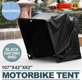 Motorcycle  Shed Cover Storage Garage Tent Motorbikes Sturdy Metal Frame Security Locking Permanently Motorcycle Cover
