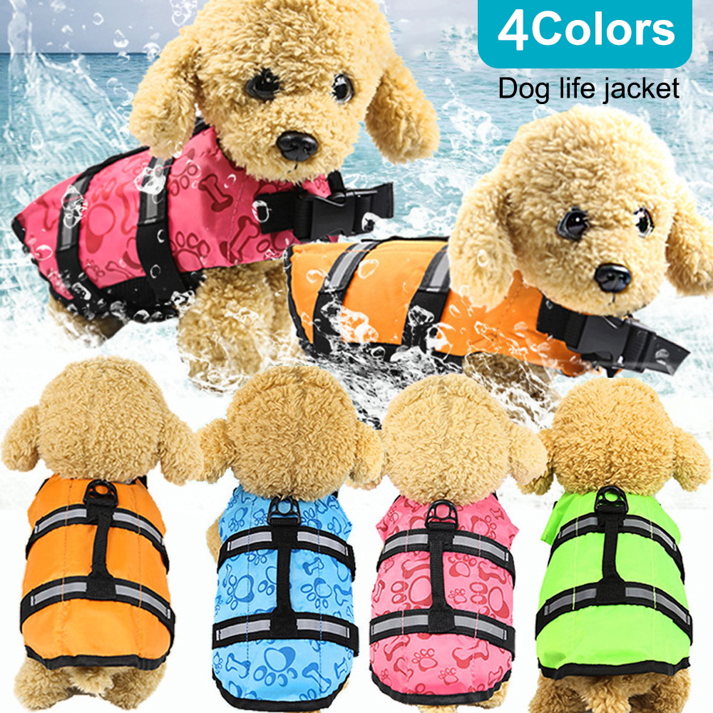 Outdoor Pet Dog Float Doggy Life Jacket Vests Puppy Rescue Swimming Wear Safety Clothes Vest Swimming Suit XS-XL