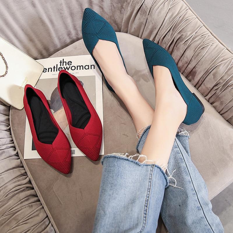 Туфли женские с острым носком, мягкая дышащая вязаная обувь, плоская подошва, балетки, удобные для беременных, повседневные, 43 цвета|Обувь без каблука| | АлиЭкспресс