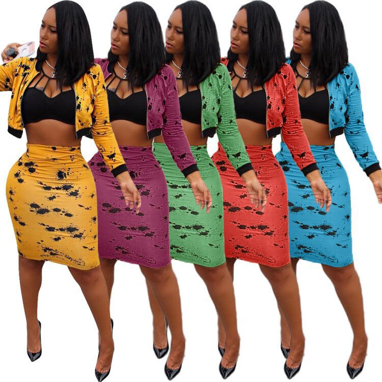 2019 New Autumn Women Set Long Sleeve Print Crop Top Zipper Coat And Pencil Skirts Two Piece Outfits Suit For Women