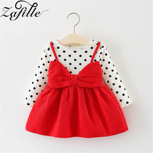 ZAFILLE Baby Girl Clothes Long Sleeve Toddler Summer Dress Dot Printed Girls Clothing Bow Knot Fashion Kids Princess Girls Dress