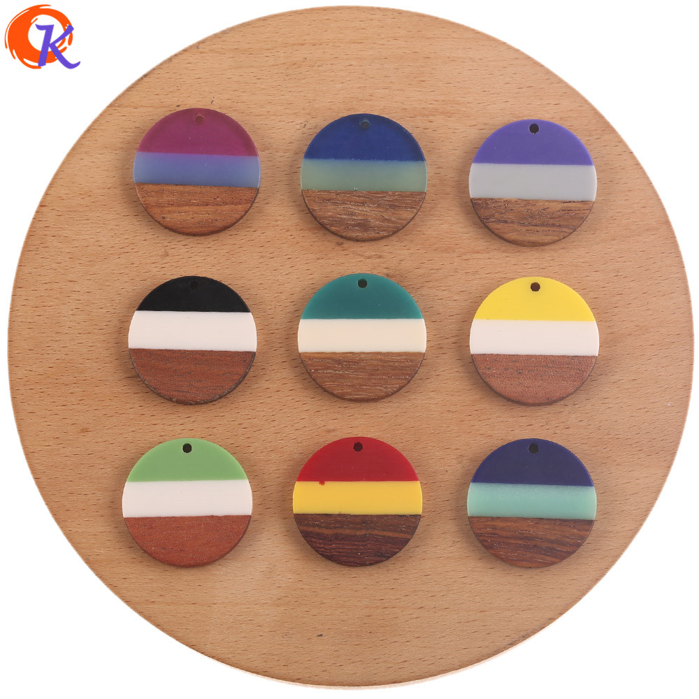 Cordial Design 50Pcs 28*28MM DIY Making/Charms/Hand Made/Natural Wood & Resin/Coin Shape/Earring Findings/Jewelry Accessories