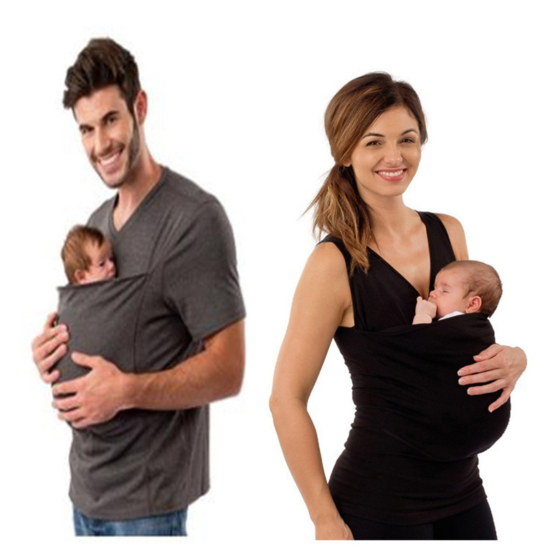 Parenting Child Kangaroo Baby Carrier Sling Father Mother Vest Mother Clothes Tops With Pocket Casual SolidT-shirt
