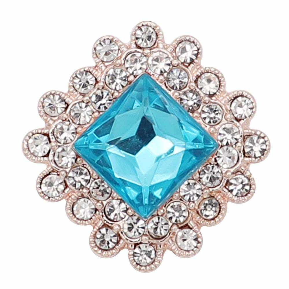Nuevo botón a presión joyería azul flor jengibre metal 18mm botones a presión ajuste pulsera brazaletes botón joyería para mujer